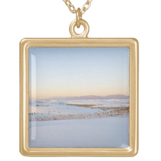 White Sands National Monument, Transverse Dunes 2 Gold Plated Necklace