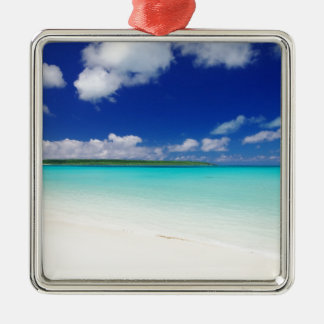 White Sandy Beach and Miyako Island Okinawa Silver-Colored Square Decoration