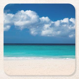 White sandy beach at Eagle Beach Square Paper Coaster