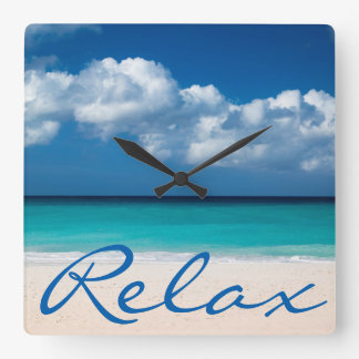 White sandy beach at Eagle Beach Square Wall Clock
