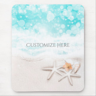 White Sandy Beach Starfish Blue Ocean Tropical Mouse Mat