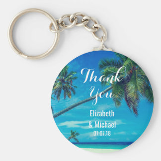 White Sandy Beach with Coconut Palms Wedding Key Ring