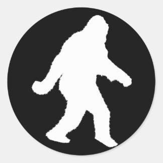 White Sasquatch Silhouette For Dark Backgrounds Classic Round Sticker