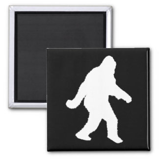 White Sasquatch Silhouette For Dark Backgrounds Square Magnet