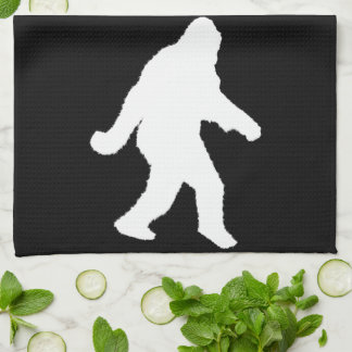 White Sasquatch Silhouette For Dark Backgrounds Tea Towel