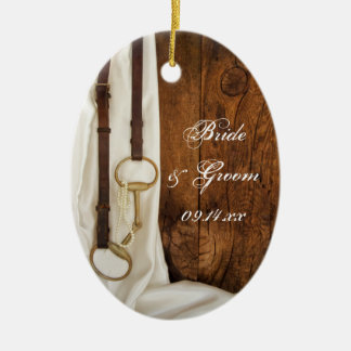 White Satin and Horse Bit Country Wedding Christmas Ornament
