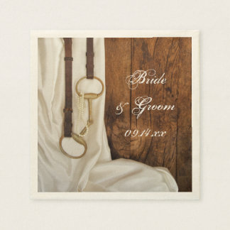 White Satin and Horse Bit Country Wedding Disposable Serviettes