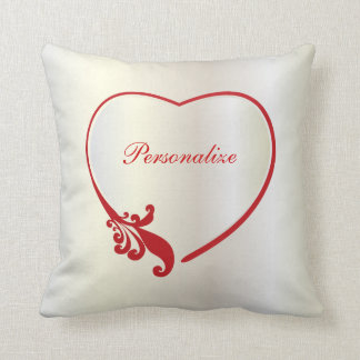 White Satin and Red Love Heart Print Throw Pillow