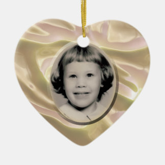 White Satin Heart Memorial Ornament