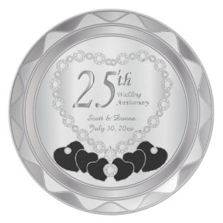 White Satin & Silver 25th Wedding Anniversary Party Plate