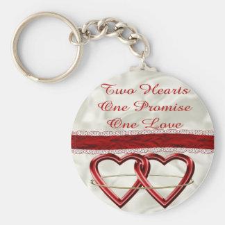 White Satin Wedding Set Basic Round Button Key Ring