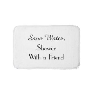 White Save Water Funny Plush Bath Mat