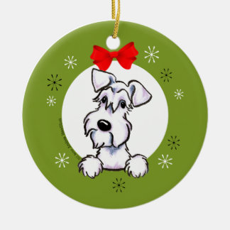 White Schnauzer Natural Ears Christmas Classic Christmas Ornament