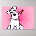 White Schnauzer Sweetheart Pink Off-Leash Art™ Poster