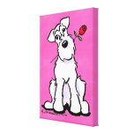 White Schnauzer Sweetheart Rose Canvas Print