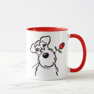 White Schnauzer Sweetheart Rose Mug