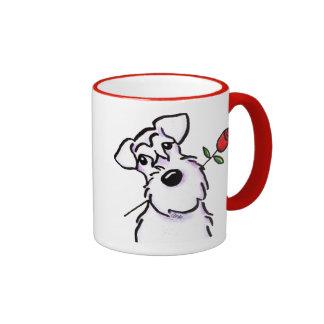 White Schnauzer Sweetheart Rose Ringer Coffee Mug