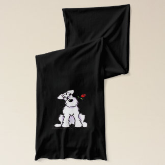 White Schnauzer Sweetheart Rose Scarf