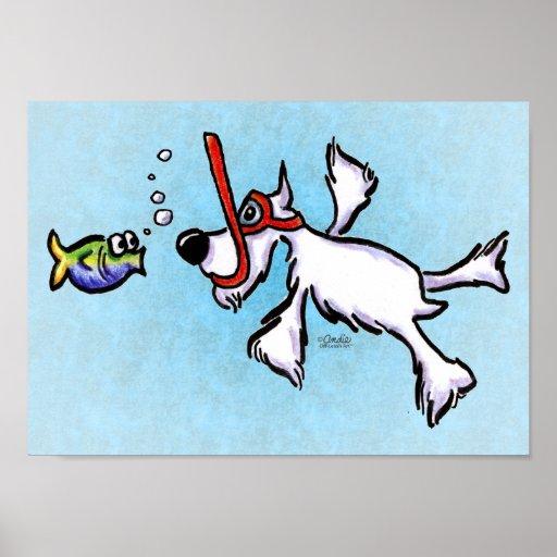 White Schnauzer Under the Sea Off-Leash Art™ Posters