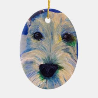 White Schnauzer's RULE ! Christmas Ornament