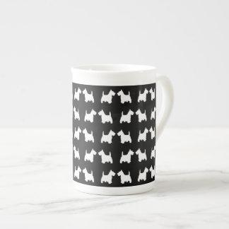 White Scottie Dog Twin Silhouettes Tile Pattern Bone China Mug