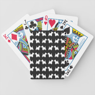 White Scottie Dog Twin Silhouettes Tile Pattern Deck Of Cards