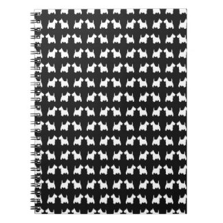 White Scottie Dog Twin Silhouettes Tile Pattern Notebook
