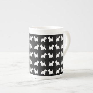 White Scottie Dog Twin Silhouettes Tile Pattern Tea Cup
