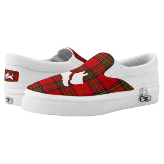 White Scottie on Stewart Plaid Printed Shoes
