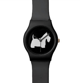 White Scottish Terrier Silhouette Watch