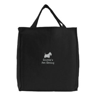 White Scottish Terrier Silhouette with Custom Text Embroidered Tote Bags