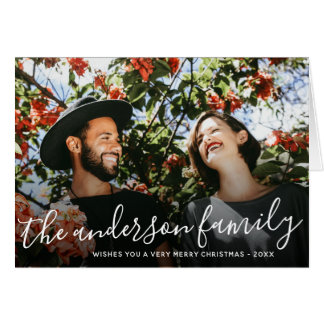 White Script Family Name Christmas Holiday Photo Card
