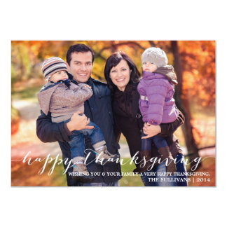 White Script Happy Thanksgiving Photo Card