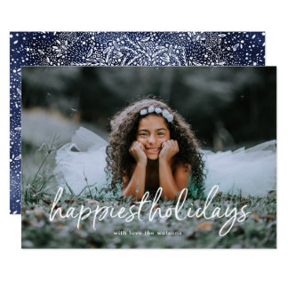 White Script Lettering Happiest Holiday Photo Card