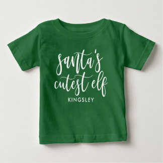 White Script Santa's Cutest Elf (With Name) Baby T-Shirt