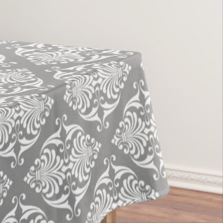 White Scrolls on Dove Grey Tablecloth