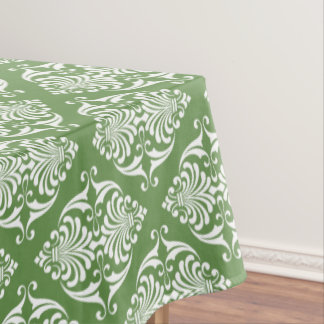 White Scrolls on Moss Green Tablecloth