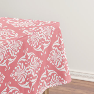 White Scrolls on Soft Salmon Pink Tablecloth