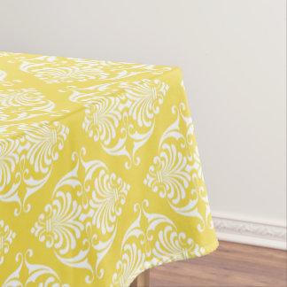 White Scrolls on Warm Sun Yellow Tablecloth