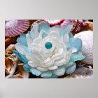 White Sea Glass Flower Poster