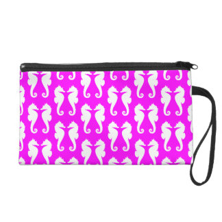 White Sea Horses on Pink Wristlet Purses