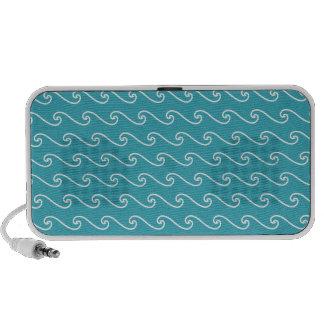 White sea waves pattern laptop speakers