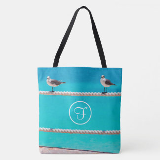 White seagull beach birds photo custom monogram tote bag