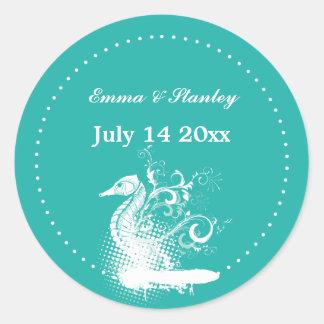 White seahorse light sea green summer wedding round sticker