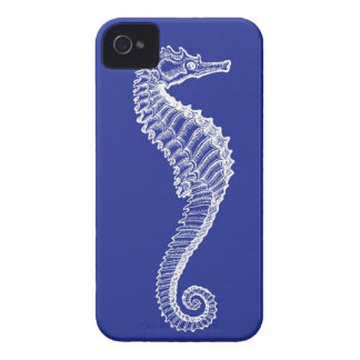 White Seahorse on Navy iPhone Case