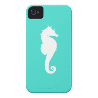 White Seahorse on Turquoise iPhone 4 Case-Mate Cases
