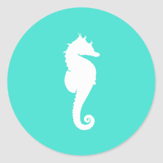 White Seahorse on Turquoise Classic Round Sticker