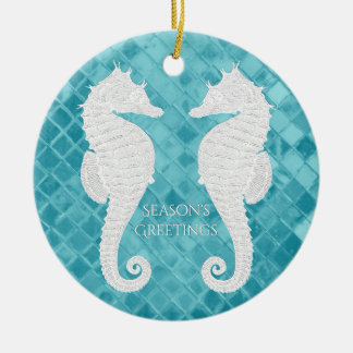 White Seahorses Aqua Sea Glass Personalize Christmas Ornament