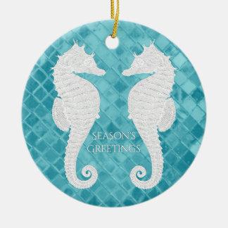 White Seahorses Aqua Sea Glass Personalize Round Ceramic Decoration