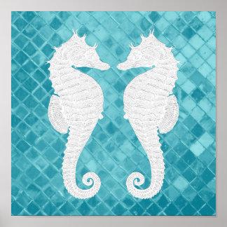 White Seahorses Aqua Sea Glass Poster